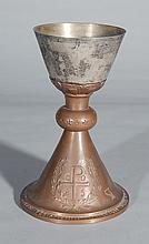 Christian silver and copper chalice