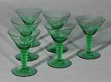 Set of 6 Morgantown green cocktail glasses