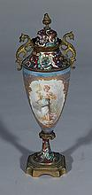 French enameled covered urn
