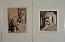 Karl Bauer 2 drypoints