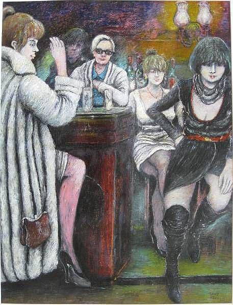 David Azuz- At The Bar- oil pastel on paper,