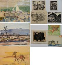 20th c. American School 10 works on paper