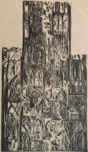 20th c. American School woodcut