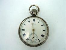 A SILVER GENTLEMAN'S POCKET WATCH, Waltham USA; case Dennison Watch Case Co, Birmingham (date obscured).