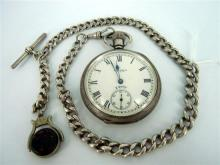A SILVER WALTHAM POCKET WATCH ON FOB CHAIN, 'Equity' open faced pocket watch with inner seconds dial, fob chain with stone set swive.