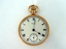 A GOLD WALTHAM POCKETWATCH, open-faced, inner seconds dial; 9ct gold. Weight (all in) 83.7g.