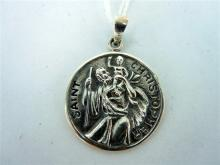A SILVER SAINT CHRISTOPHER'S MEDALLION PENDANT