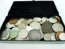 *A BOX OF ASSORTED COLLECTABLE COINS including European and American coins.