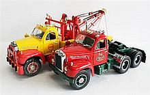 TWO MACK TRUCKS, 'COMMERCIAL RECOVERY FIRST GEAR PEOSTA' AND 'PRIME MOVER'. (2)