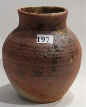 A LITHGOW VALLEY POTTERY VASE, Signed LVP impressed. Height 15.5cm.