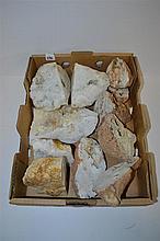 A BOX OF SAWN QUARTZ GEODES.