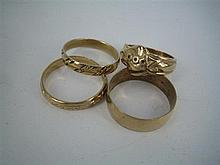 FOUR 9ct GOLD BAND RINGS. (4) Total weight 14.6g.