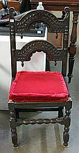 SIX 17th CENTURY OAK DERBYSHIRE CHAIRS, with sized cushions.