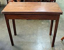 A GEORGIAN TEA TABLE, the fold over top raised on square chamfered legs. Width 87cm.