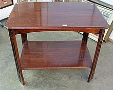 AN ARTS & CRAFTS MAHOGANY OCCASIONAL TABLE, with underplatform.