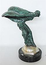 'SPIRIT OF ECSTASY', bronze, modelled as the lady clad only in fluttering robes, resting on a brassed mounting, on black marble base.