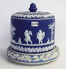 A SAMUEL LEAR BLUE JASPERWARE CHEESE DOME, base not matching. Height 30cm.