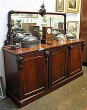 A VICTORIAN MAHOGANY SIDEBOARD, mirror back, three door.