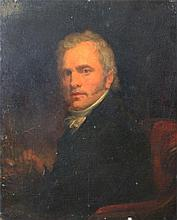 UNKNOWN ARTIST 'PORTRAIT OF A GENTLEMAN' Oil on wood circa 19th century 26.5 x 22cm