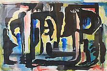 UNKNOWN ARTIST UNTITLED Ink on paper Signed and dated 5.56 lower right 38 x 56cm