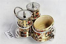 A DAVENPORT LONGPORT CHINA CRUET SET, comprising mustard, salt and pepper containers, on silver plated base.