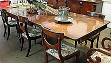 A GEORGIAN MAHOGANY EXTENSION DINING TABLE, fitted with three leaves, D-ends, raised on six legs.