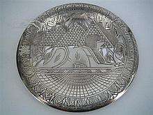 AN EGYPTIAN SILVER DISH.