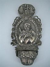 A 19th CENTURY EUROPEAN SILVER HOLY-WATER STOUP with an embossed cameo devotional three-quarter figure within a ribbon and reed oval...