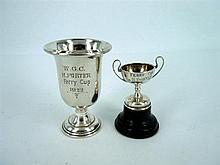 TWO MINIATURE SILVER TROPHIES (2) one by White & Hawkins, Birmingham, 1946,
