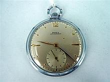 A METAL CASED POCKETWATCH by Doxa 'Anti Magnetique'. Swiss made. Weight: 49.8g.