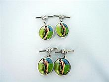 TWO PAIRS OF SILVER AND ENAMEL CUFFLINKS depicting a cricketer on strike