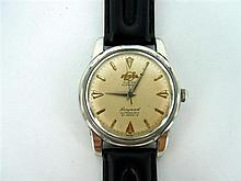 A GENTLEMAN'S ENICAR STEEL WRIST-WATCH, 'Seapearl' automatic with baton numeral dial.