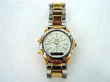 A GENTLEMAN'S PULSAR BRACELET WATCH, quartz chronograph with two-colour case and bracelet, steel and gold-plated steel.