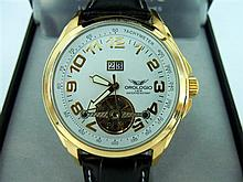 A GENTS OROLOGIO 'AUTOMATICO' WRISTWATCH. 18ct gold plated stainless steel case with 35 jewel mechanical movement. New, boxed with w.
