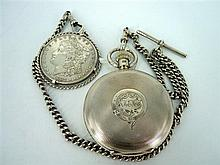A SILVER WALTHAM POCKETWATCH hallmarked A.B, Birmingham for Hollingdale & Kessell, Sydney. Comes on a silver fob chain with an 1897...