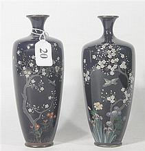 A PAIR OF JAPANESE MEIJI PERIOD CLOISONNÉ VASES, with silver wire inlay design of flowering blossoms and birds. ht. 15cm.