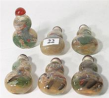 SIX CHINESE GOURD FORM GLASS SNUFF BOTTLES, inside painted. ht. 7.5cm.