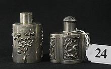 TWO CHINESE EXPORT SILVER PEPPERETS.