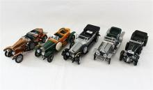 FIVE FRANKLIN MINT MODELS, including 1907 'Silver Ghost' Rolls-Royce, and 1928 Bentley.