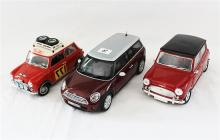 TWO MINI COOPER MODELS AND A MINI MINOR, Kyosho and one Solido.