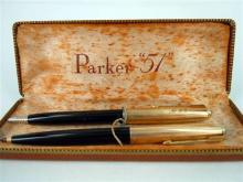 A PARKER PEN '51' SET, 1/10 12ct rolled gold, ballpoint pen (not retracting) and pencil. Boxed.