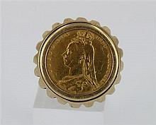 *A GOLD HALF SOVEREIGN RING, coin with the head of Queen Victoria, fully hallmarked mount; 9ct gold. Ring size M. Weight 10.7g.