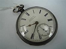 A LATE-VICTORIAN SILVER OPEN-FACE POCKET WATCH, key-wind; Birmingham 1889.