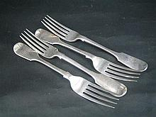 FOUR VICTORIAN SILVER DESSERT FORKS, fiddle pattern, monogrammed; George Adams, London 1879. (4) Total wt approx 195g.