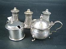 FIVE SILVER CONDIMENT PIECES. (5)