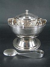 A CHRISTOFLE CAVIAR BOWL AND A SILVER SPOON, the silver-plate bowl with frame, glass bowl and cover, on an associated chrome steel f...