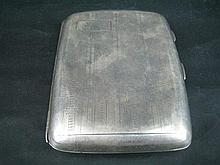 A SILVER CIGARETTE CASE, engine-turned; John Rose, Birmingham.