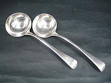 A PAIR OF GEORGE III SILVER SAUCE LADLES, Old English pattern; Wm Chawner, London 1820. Total weight 116g.