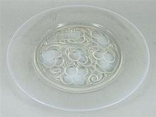A LALIQUE VASELINE GLASS PLATE; signed in block. Diameter 24cm.