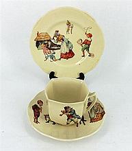 A ROYAL DOULTON NURSERY CUP, SAUCER & PLATE; D5187.